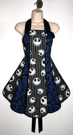 Vintage inspired Jack Skellington apron - Nightmare Before Christmas stylist / kitchen apron by XO Skeleton Creations on Etsy, $74.99
