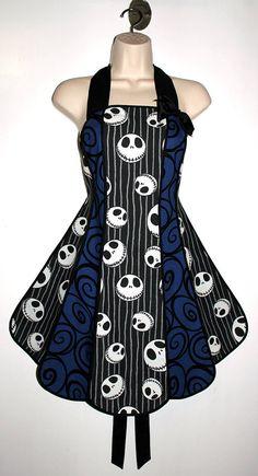 Vintage inspired Jack Skellington apron - Nightmare Before Christmas stylist / kitchen apron by XO Skeleton Creations on Etsy, $74.99