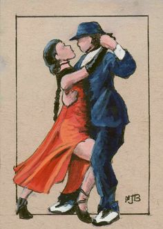ACEO Original Painting Tango Dancers couple figure male female Spanish #Impressionism