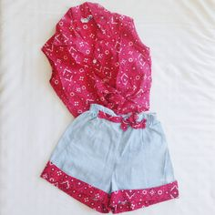 Vintage 1950s Childs Outfit. Made of a Cotton Material in a Red & White Paisley Bandana Pattern w/ Chambray Shorts. Button & Tie Closure at Front Top