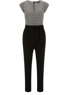 Ivory/Black Tile Jumpsuit - Dorothy Perkins