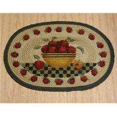 apple decorations for kitchen | Country Rug (Apple Basket Rug) braided oval kitchen rug country decor