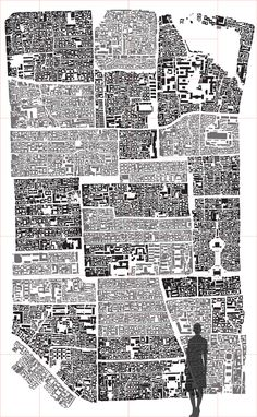 Collage of Hutong districts and parts of downtown Beijing reassembled as a large imaginary city