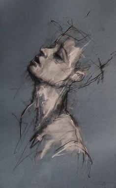Guy Denning ~ Head's a fucking mess, 2011 (chalk, conté)