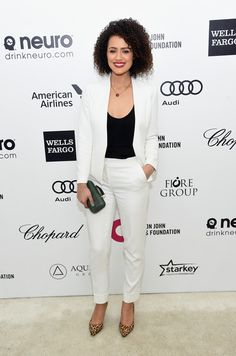 Nathalie Emmanuel Photos Photos - Actress Nathalie Emmanuel attends the Annual Elton John AIDS Foundation Academy Awards Viewing Party on February 2015 in Los Angeles, California. - Arrivals at the Elton John AIDS Foundation Oscars Viewing Party — Part 3 English Actresses, British Actresses, Nathalie Emmanuel, Elton John Aids Foundation, Hollywood Star, Chor, Vogue, Curly Hair Styles, Beautiful Women