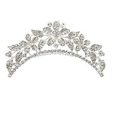 Lux Accessories Pave Crystal Floral Flower Leaf Bridal Bride Wedding Crown Hair Comb -- Click image to read more details. #StylingToolsandAppliances