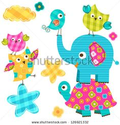 cute happy animals - stock vector