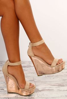 6d7aff3e8cf Day To Slay Cream and Rose Gold Metallic Platform Wedges