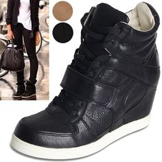 Women Velcro Strap Sneakers High Top Wedge Sneakers Ankle Shoes Brown Black | eBay