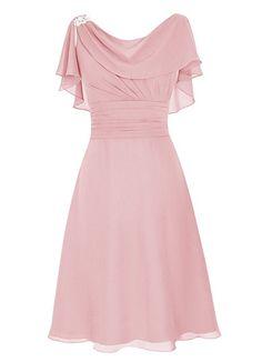 Dresstells Short Prom Dress Cowl Bridesmaid Dress Chiffon Mother of Bride Dress Blush Size 2