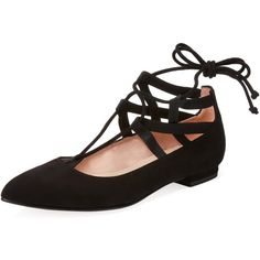 French Sole FS/NY Ophelia Ankle-Wrap Ballet Flat (495 BRL) ❤ liked on Polyvore featuring shoes, flats, black, black ballet pumps, leather pointed toe flats, black leather flats, black skimmer and black ankle strap flats