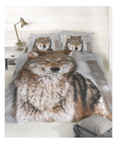 Wolf Design Double Duvet Cover and Pillowcase Set