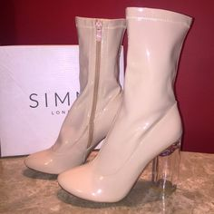 simmi Shoes - Simmi shiny boots with clear heel✨