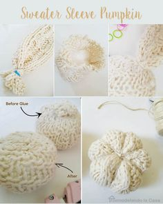 How to make sweater sleeve pumpkins - The easiest! Diy Pumpkin, Cute Pumpkin, Little Pumpkin, Fall Crafts, Crafts To Make, Diy Crafts, Victorian Crafts, Sweater Pumpkins, Creative Pumpkins