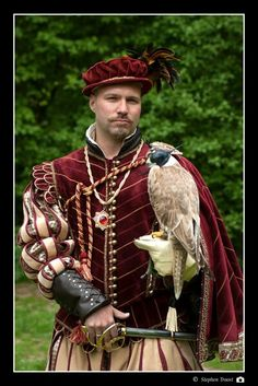 Elizabethan men's costume, made from red striped velvet,  gold velvet,  gold silk jacquard and leather.  Here pictured with a falcon. Costume made by Angela Mombers.