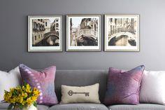 Sitting area in master bedroom by Erika Ward Interiors #plum #velvetsofa