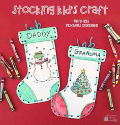 Yarn laced Christmas stocking & coloring page craft, free printable!