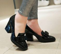 2018 Europe and America All-match Bow Thick Heels Women's Shoes High Heels Patent Leather Black Work Shoes Plus Big Size 42 43 . Find more ideas click the picture . shoes for work Slip On Pumps, High Heel Pumps, Women's Pumps, Pump Shoes, Shoes Heels, Lace Up Heels, Work Pumps, Footwear Shoes, Patent Shoes