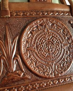VINTAGE Mexican Aztec medallion carved hand tooled leather bag Leather Carving, Leather Tooling, Tooled Leather, Leather Books, Leather Luggage, Cute Handbags, Vintage Leather, Leather Craft, Purses
