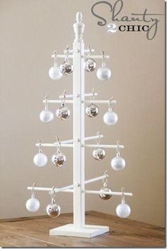 Ten Dollar Wooden Ornament Tree...This would be great for V-Day too. Very easy and simple to make