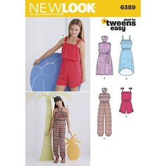 Pretty Image of Girls Sewing Patterns Girls Sewing Patterns Tween Girls Rompers Jumpers Dress Sewing Pattern New Look 6389 Sz 8 Sewing Patterns Girls, Simplicity Sewing Patterns, Clothing Patterns, Dress Patterns, Sewing Ideas, Sewing Projects, Romper Pattern, Jumpsuit Pattern, Tween Rompers