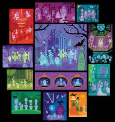 13 Original pieces of art for the 40th anniversary of the Haunted Mansion at Disneyland... I would love to own any, if not all, of these pieces!