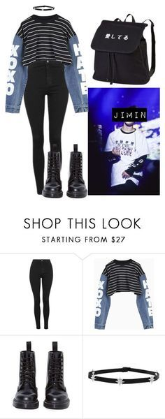"""Jimin Inspired Outfit #4"" by flaviaazevedo2000 ❤ liked on Polyvore featuring Topshop, Dr. Martens, kpop, bts, bias and jimin"