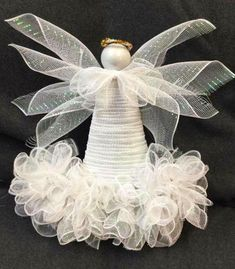 Best 12 Cute and easy to make! Diy Christmas Tree Topper, Diy Tree Topper, Christmas Mesh Wreaths, Christmas Hat, Christmas Angels, Christmas Ornaments, Angel Ornaments, Christmas Projects, Christmas Crafts