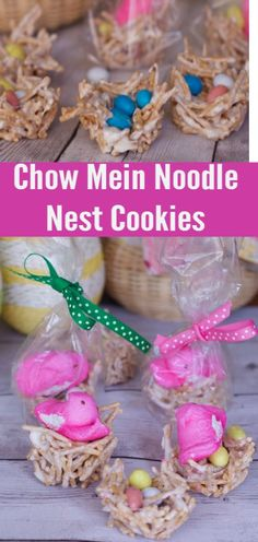 Chow Mein Noodle Bird Nest Cookies Recipe For Easter.  Fun and easy EASTER Treats.  Make these for Easter Party Favors or Easter Place Settings.  Fun craft to do with PEEPS and the kids holiday activity. Birds Nest Cookies | Chow Mein Noodle Cookies | Easter Cookies | No Bake Cookies   #haystacks #nests #easter #dessert #easy #cute #eggs #chocolate #nobake