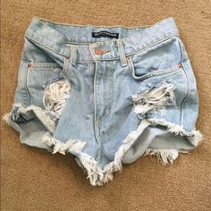 Brandy Melville High Waisted Shorts Super cute worn once Brandy shorts! These run small so I would suggest these for a size 24-25❤️ perfect condition! Brandy Melville Jeans