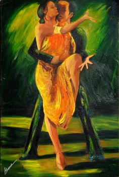 Tango painting limited edition Giclee canvas print, Tango dancers dressed in gold with a dark green background,