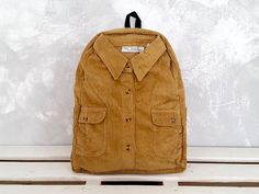 Brown backpack Corduroy backpack Casual backpack by YouNeedEco