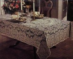 "Quaker Lace 60""x 104"" Kensington Ecru/Ivory Oblong  Lace Tablecloth"