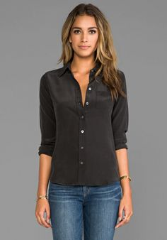 EQUIPMENT Brett Vintage Washed Blouse in Black at Revolve Clothing - Free Shipping!