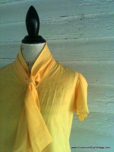 Vintage 80s Blouse CANARY Yellow Secretary by runaroundsuevintage, $16.00