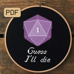 Nerdy Geeky Wall Decor Gothic Fancy Letter Crit On Me Dungeons and Dragons D20 Complete Counted Cross Stitch Kit Gift for Him Her