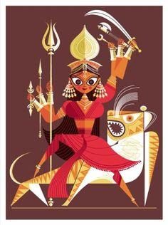 Durga The Big Poster Book of Hindu Deities: 12 Removable Prints Sanjay Patel: Books Durga Painting, Madhubani Painting, Bd Art, Indian Folk Art, Indian Art Paintings, Durga Puja, India Art, Durga Goddess, Hindu Deities
