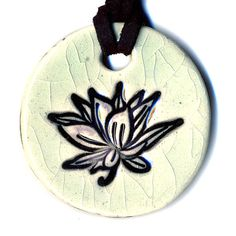 Lotus Flower Ceramic Necklace in Crackle by surly on Etsy, $18.00