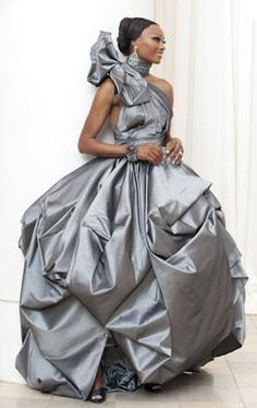 TREND ALERT: Colored Wedding Gowns - Real Houswives of Atlanta Cynthia Bailey Pewter Wedding Gown