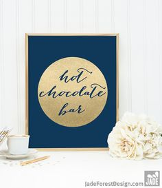 Hot Chocolate Bar Sign DIY / Dessert / Navy and Gold Wedding Sign / Metallic Gold Sparkle Circle / Champagne Gold ▷ Instant Download JPEG