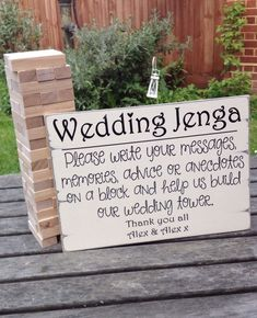 Alternative Guest Book Wedding Sign Wedding Jenga Sign Personalised