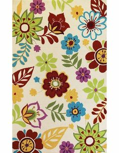 I like the whimsy.....  Ivory Retro Floral Rug