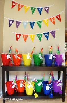 Felt Pennant Birthday Banner and buckets for party Favour containers Rainbow Party Favors, Rainbow Parties, Rainbow Birthday Party, Rainbow Theme, Diy Birthday, First Birthday Parties, First Birthdays, Birthday Ideas, Rainbow Bunting