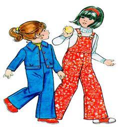 Butterick 3453 Child Bib Overalls & Jacket Vintag 1970s Sewing Pattern | Childs Bib Overalls and Jacket Butterick 3453 Childrens Sewing Pattern Vintage 1970s Button Jacket and Bib Overalls with Buckles VintageKids