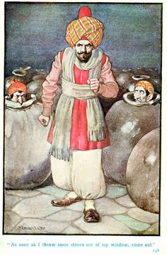 Monro S. Orr - Illustrations for Stories from the Arabian Nights based on a translation by Edward William Lane; selected & edited by Frances Jenkins Olcott - Story of Ali Baba and the Forty Thieves [14 of 16]