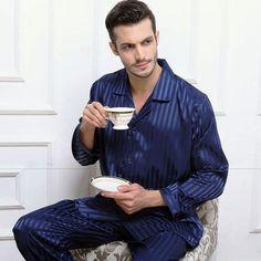 Mens Pajamas Silk Satin Pajamas Set Sexy  Sleepwear Set for male Christmas Loungewear Homewear Autumn Winter Nightwear