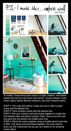 I have a giant white stairway that is begging to become this ombre wall - Home Page Blue Bedroom, Bedroom Decor, Beach Shade, Blue Beach, Mermaid Room, Beach Room, My New Room, Diy Wall, Wall Decor