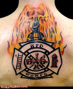 memory tattoo for troy :) Ems Tattoos, I Tattoo, Firefighter Tattoos, Helmet Tattoo, Memorial Tattoos, Firefighting, Archie, Troy, Beautiful World