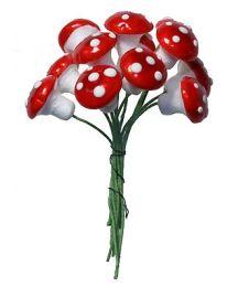 12 Medium Spun Cotton Mushrooms from Germany ~ 14mm Metallic Bright Red