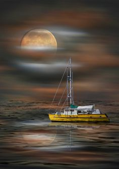 Raindrops and Roses Raindrops And Roses, Ship Paintings, Boat Art, Moon Pictures, Beautiful Moon, Am Meer, Water Crafts, Fishing Boats, Sailing Ships